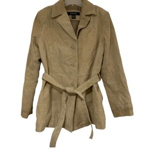 New York & Company leather tan trench coat